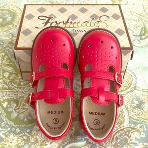 BNIB size8 Red Leather Double Strap Mary Janes